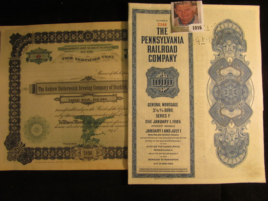 """No. 49 Stock Certificate """"The Andrew Dotterweich Brewing Company of Dunkirk, N.Y.""""; & Number 2346 """"T"""