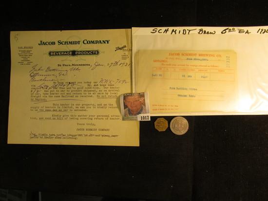 "Nice group of 1930 era ""Jacob Schmidt Brewing Company, St. Paul, Minn."" memorabilia; S.B. Arnold Poo"