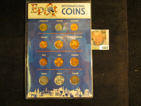 """""""Epcot International Coins"""" Foreign Coin Set in a special holder. (12 pcs.)."""