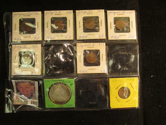 (7) Canada Cents & 1965 Brilliant Uncirculated Canada Silver Dollar.