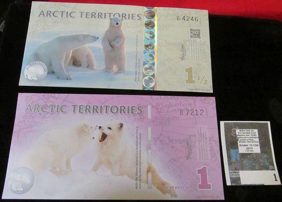 2012 Arctic Territories One Polar Dollar & 2014 Arctic Territories One and a Half Polar Dollar, CU w