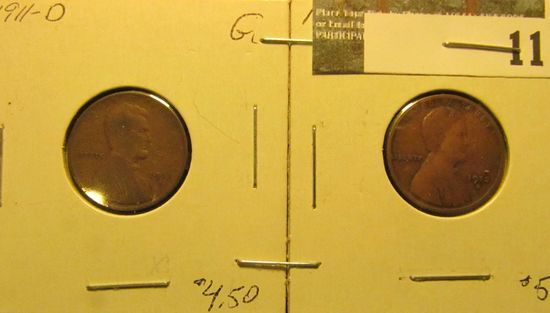 1911 D & 12 D Lincoln Cents, both Good.