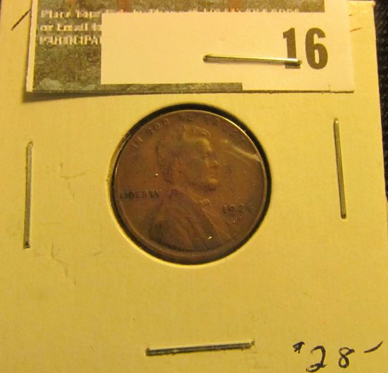 1924 D Lincoln Cent, VG.