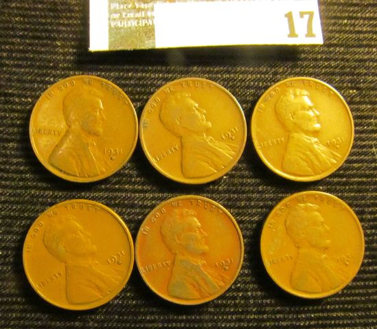 (6) 1931 D Lincoln Cents, VG-Fine.
