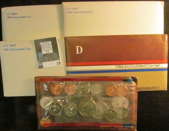 1979, 80, 81, 84, & 85 U.S. Mint Sets in original envelopes as issued. (face value $17.10).