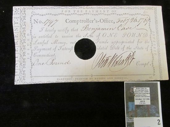 """Feb. 26, 1789 Pay Check No. 1797 from the Comptroller's Office to """"Benjamin Case is entitled to rece"""