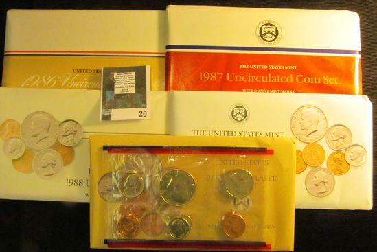 1986, 87, 88, 89, & 90 U.S. Mint Sets in original envelopes as issued. (face value $9.10).