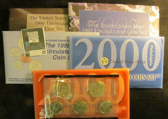 1996 (with W Dime), 1997, 1998, & 2000 P & D U.S. Mint Sets in original envelopes. ($11.38 face valu