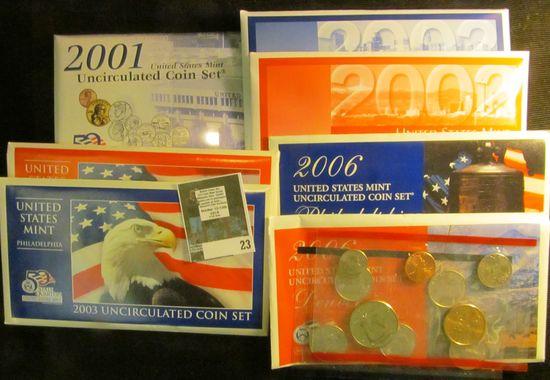 2001, 2002, 2003, & 2006 U.S. Philadelphia & Denver Mint Sets in original envelopes as issued. $23.2