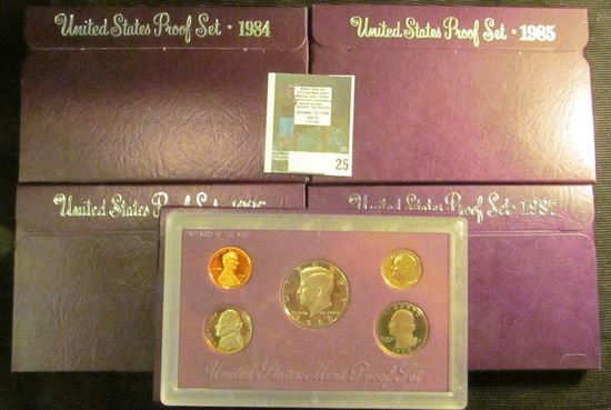 1984 S, 85 S, 86 S, 87 S, & 88 S U.S. Proof Sets, all original as issued.