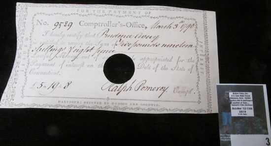 """March 3, 1790 Pay Check No. 9529 from the Comptroller's Office to """"Prudence Avery is entitled to rec"""