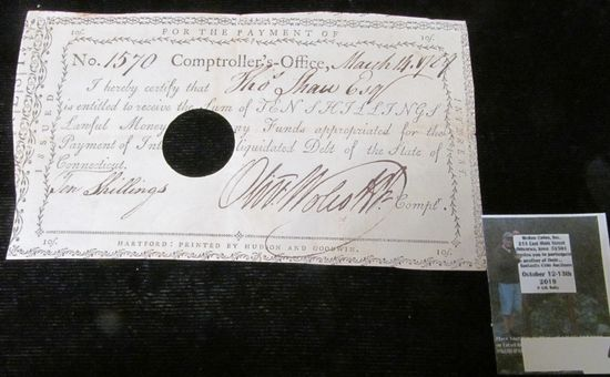 """March 14, 1789 Pay Check No. 1570 from the Comptroller's Office to """"Tho Shaw Esq. is entitled to rec"""
