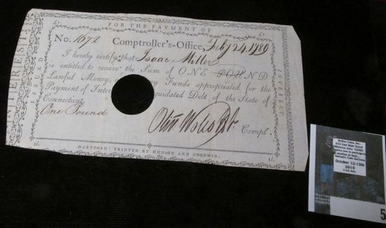 """Feb. 24, 1789 Pay Check No. 1672 from the Comptroller's Office to """"Isaac Miller is entitled to rece"""