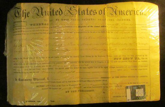 "1848 ""The United States of America"" Johnson County Iowa Land Grant on velum."