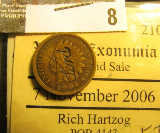 """1904 Indian Head Cent with """"Ford"""" counterstamp on both sides. ex Lot no. 210 """"World Exonumia Mail Bi"""