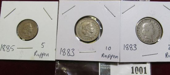 1885 Five Rappan, 1883 10 Rappen, & 1883 20 Rappen Switzerland Coins.