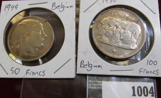1949 Fifty Francs & 1950 One Hundred Francs Belgium coins.