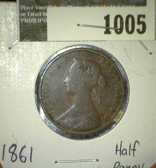 1861 Great Britain Half Penny.