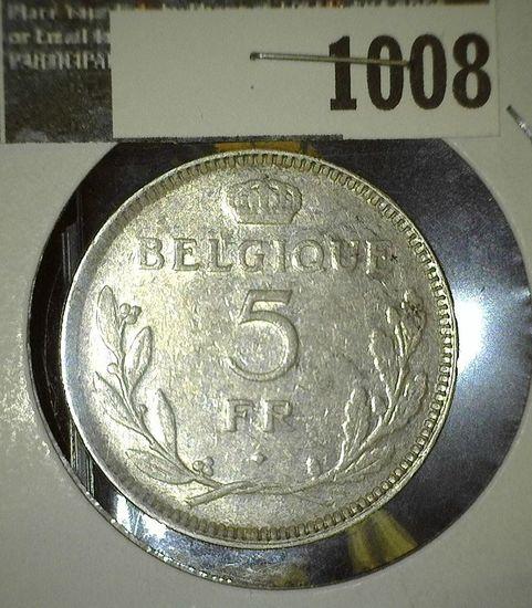 1937 Belgium Five Francs.