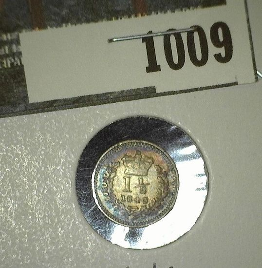 1843 Great Britain Silver 1 1/2 Pence of Queen Victoria.