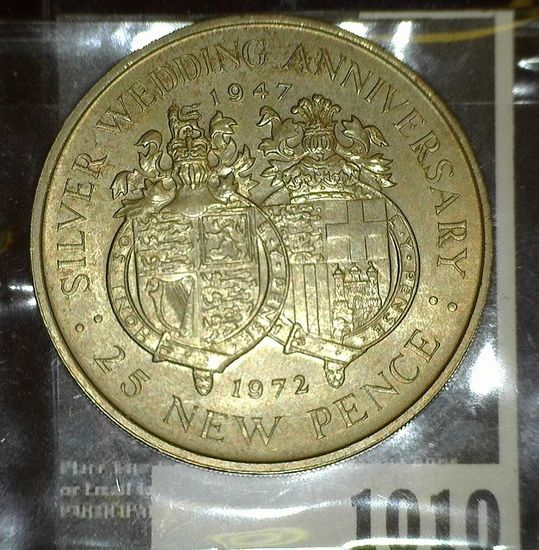 1972 Gibraltar Silver Wedding Anniversary Crown of Queen Elizabeth II.