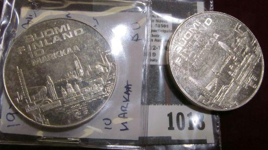(2) 1971 Finland Silver 10 Markaa coins.