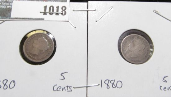 Pair of 1880 H Canada Five Cent Silvers.