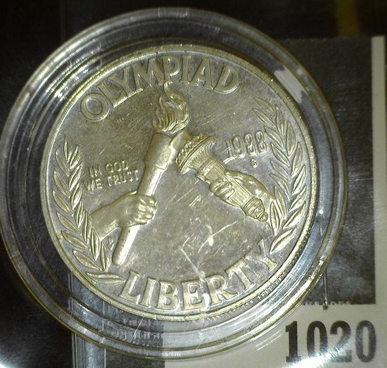 1988 S U.S. Olympics Silver Proof 55 Dollar. Encapsulated.