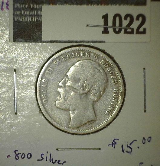 1876 Sweden Silver One Krona. .800 fine.