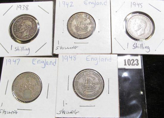 1938, 42, 45, 47, & 48 Great Britain Silver Shillings.