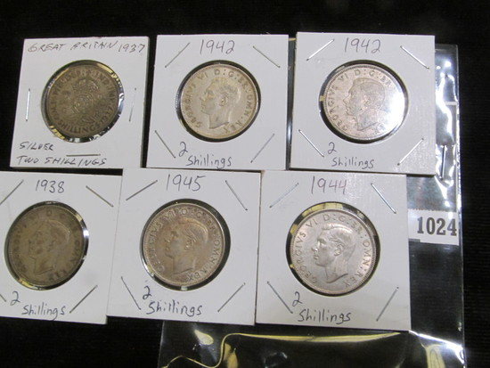 1937, 38, (2) 42, 44, & 45 Great Britain Silver Two Shilling Coins in VF to EF.