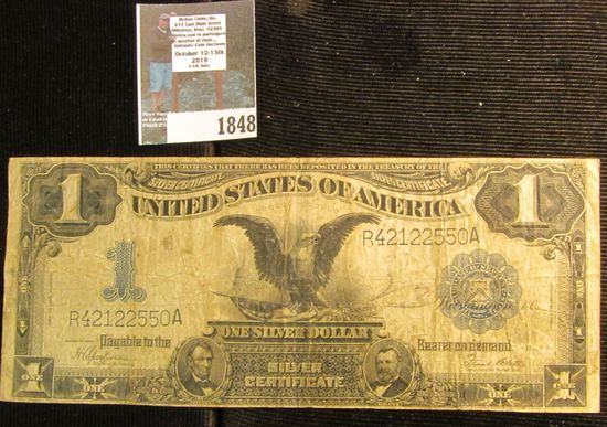 """One Dollar Series 1899 One Dollar Silver Certificate """"Black Eagle"""", signed by Speelman and White. Ac"""