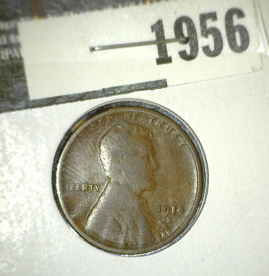 1914 D Lincoln Cent, VG. Key date.