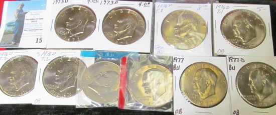 (10) Brilliant Uncirculated Eisenhower Dollars including a couple of scarce 1973 D & 76 P Type One I