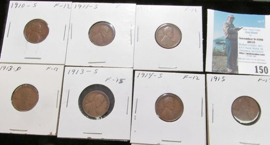 1910 S, 11 S, 12 S, 13 D, S, 14 S, & 15 P Key date Lincoln Cents, all grading Fine.