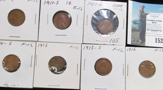 1910 S, 11 S, 13 S, 14 S, 15 P, 15 S, & 16 P Key date Lincoln Cents, all grading Fine.