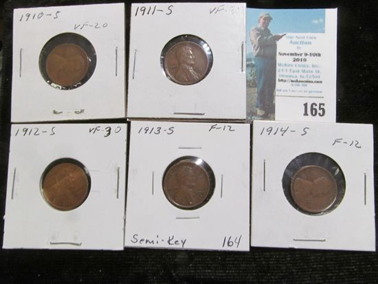 1910 S, 11 S, 12 S, 13 S, & 14 S Keydate Lincoln Cents grading Fine-Very Fine.