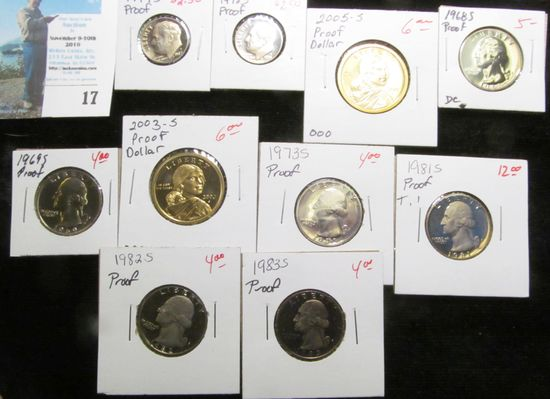 (10) different U.S. Proof Singles from Dimes to Dollars.