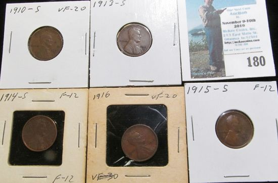 1910 S, 13 S, 14 S, 15 S, & 16 P Keydate Lincoln Cents, all grading Fine to VF.