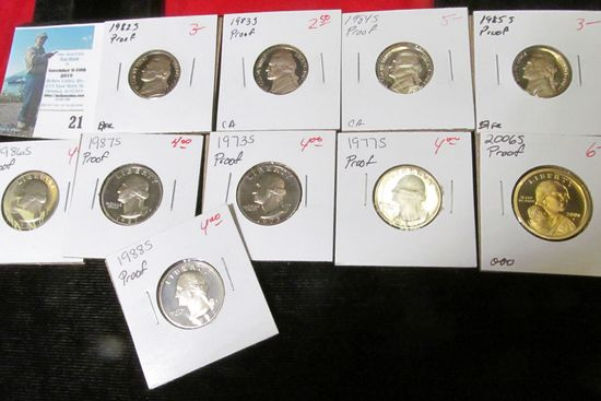 (10) different U.S. Proof Singles from Nickels to Dollars.