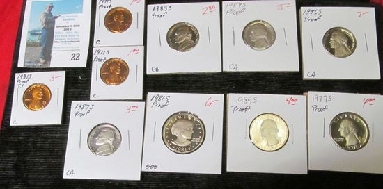 (10) different U.S. Proof Singles from Cents to Dollars.