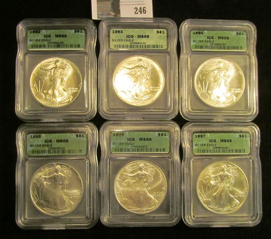 Six-piece slabbed ICG-MS69 American Eagle .999 Fine Silver Dollars Set in box. Box shows some wear.