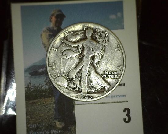 1943 D Walking Liberty Silver Half Dollar.
