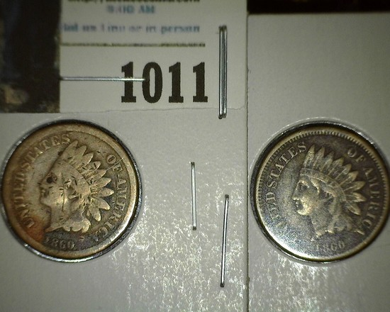 Pair of 1860 Indian Head Cent with grades up to Fine.