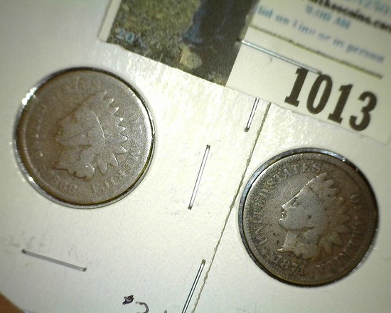 1868 & 1871 Indian Head Cents, both Goods.