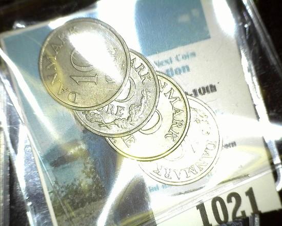 1957, 60, 61, & 62 Denmark 10 Ore Coins in nice grades.