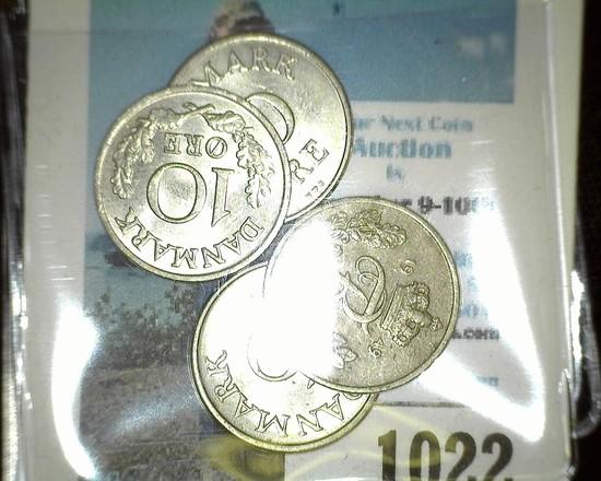 1949, 54, 57, & 61 Denmark 10 Ore Coins in nice grades.