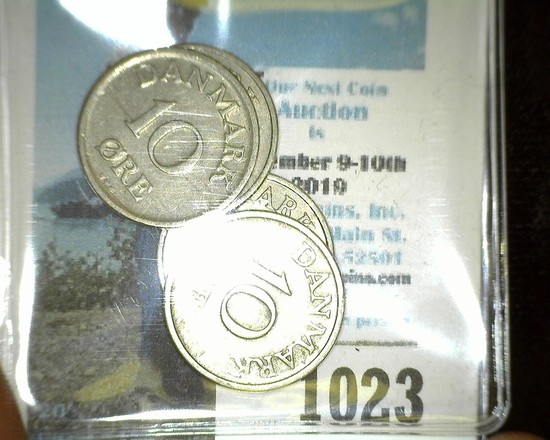 1948, 49, 52, & 58 Denmark 10 Ore Coins in nice grades.