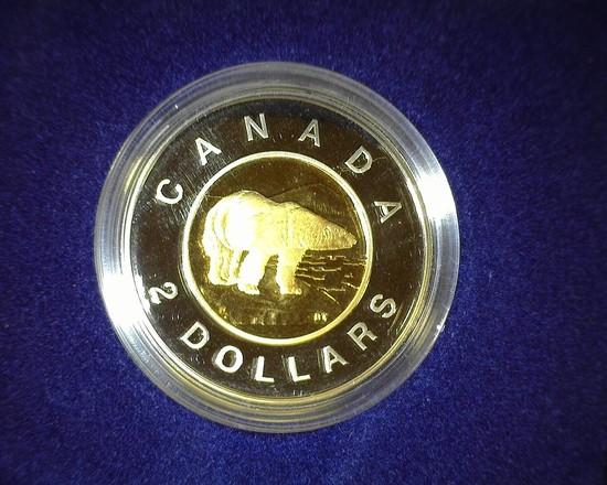 1996 Canada Two Dollar Proof Polar Bear Dollar in original case as issued.