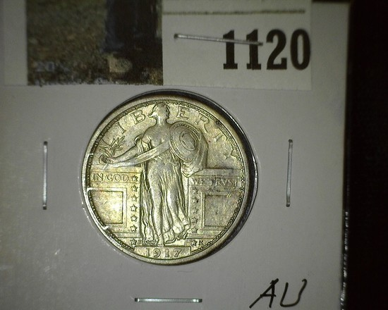1917 D Type One (Bare Breast) Standing Liberty Quarter, lots of flash and a very scarce date.